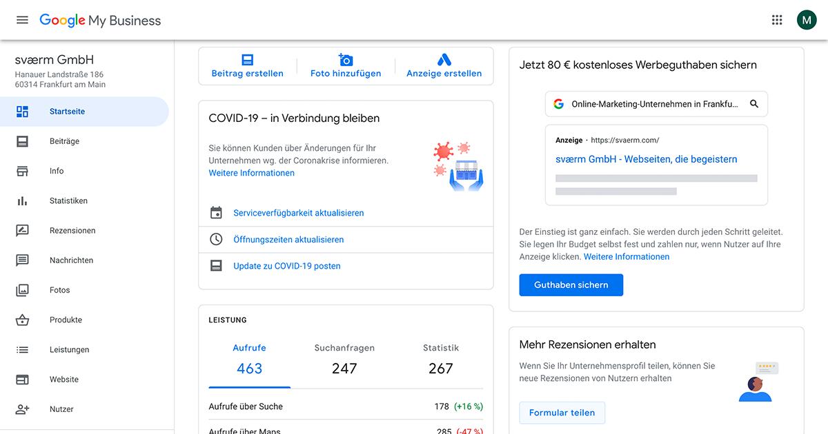 Ein Screenshot des Google My Business Dashboards der svaerm GmbH