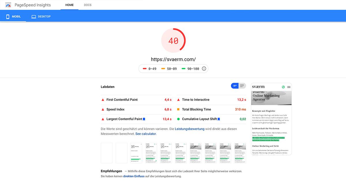 Ein Screenshot der Google Page Speed Insights