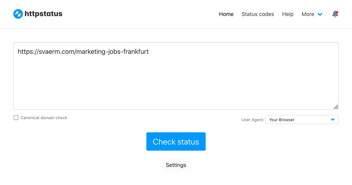 Ein Screenshot zeigt die Eingabemaske von httpstatus.io.