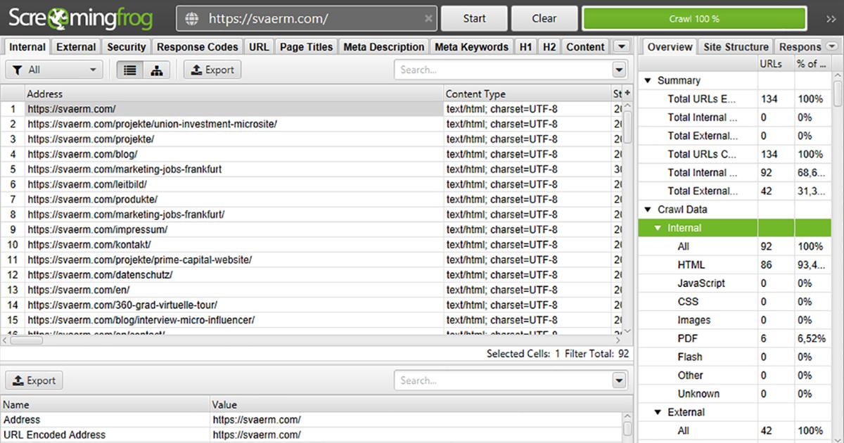 Ein Screenshot von Screaming Frog zeigt die Ergebnisse des Crawls der URL https://svaerm.com/.