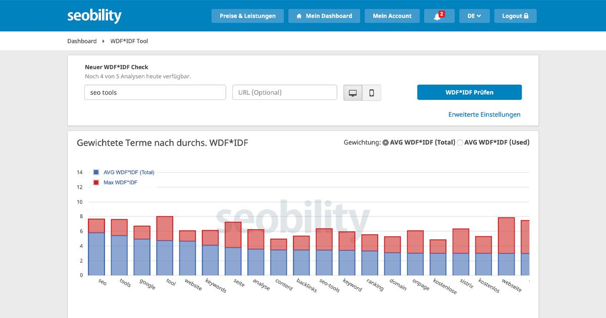 """Der Screenshot von seobility zeigt die Ergebnisse der WDF*IDF-Analyse für das Keyword """"seo tools""""."""