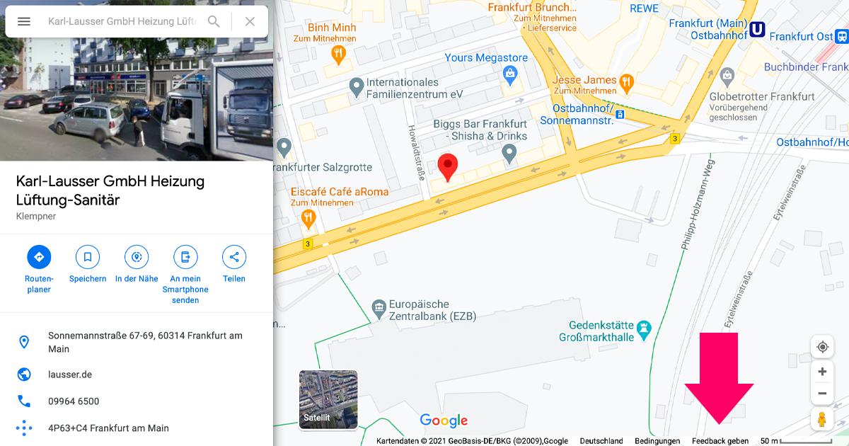Die Karl-Lausser GmbH auf Google Maps