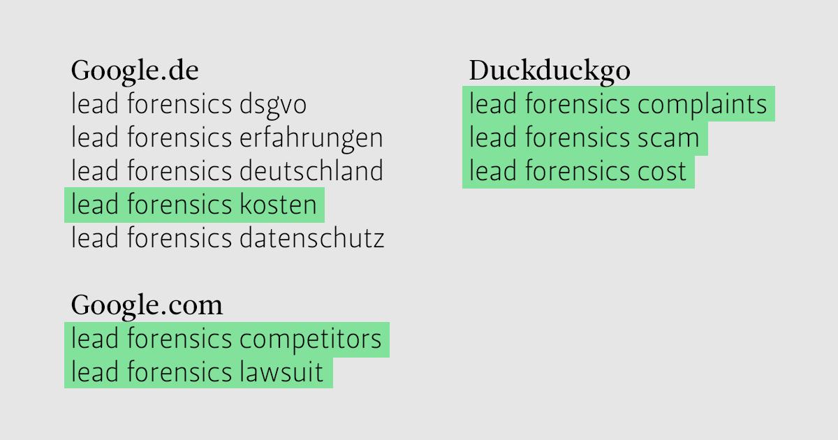 """Vervollständigungen der Suchanfrage """"lead forensics"""" der Suchmaschinen Google.de, Google.com und Duckduckgo"""