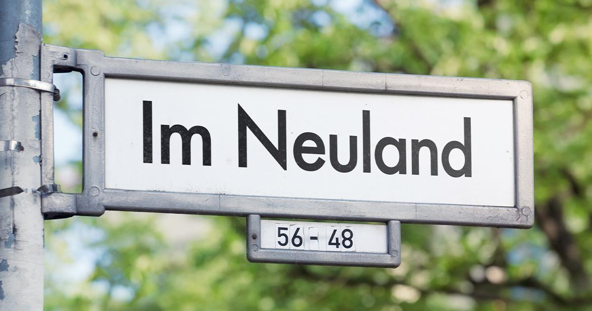 """Ein Straßenschild trägt die Aufschrift """"Im Neuland""""."""