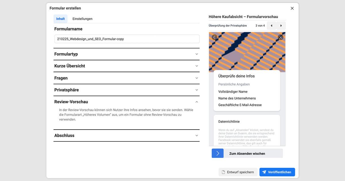 Abbildung der Review-Vorschau einer Facebook Lead Ads Kampagnenerstellung
