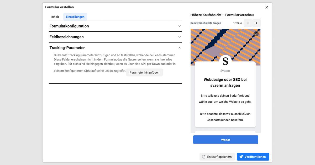 Abbildung der Tracking-Parameter einer Facebook Lead Ads Kampagnenerstellung