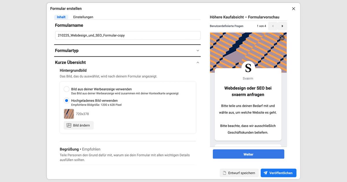 Abbildung der Kurzübersicht einer Facebook Lead Ads Kampagnenerstellung