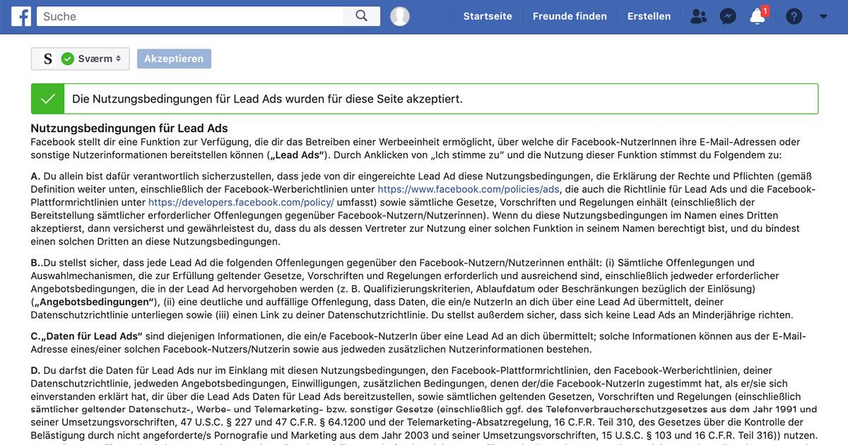Die Nutzungsbedingungen für Facebook Lead Ads