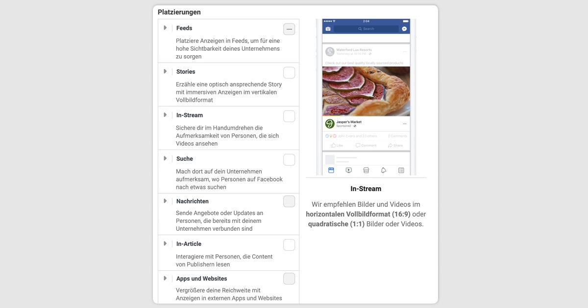 Abbildung der Platzierung einer Facebook Lead Ads Kampagne