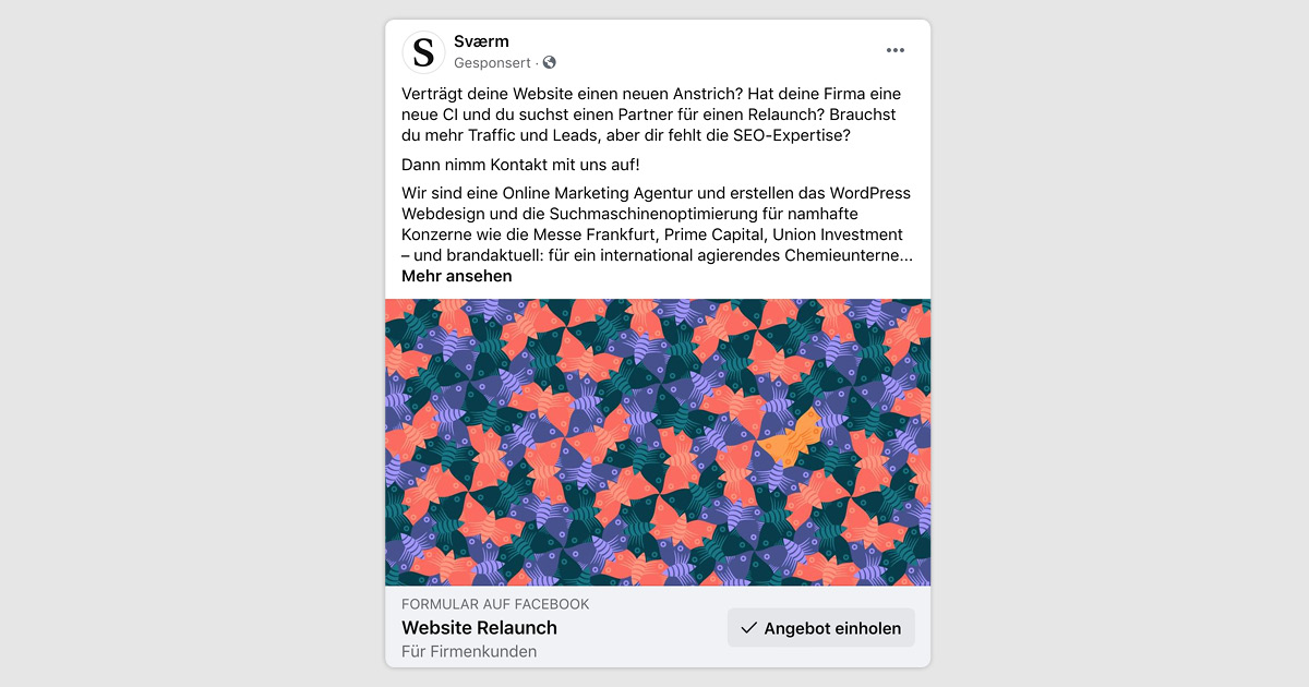 Abbildung einer Facebook Lead Ad als Bildpost