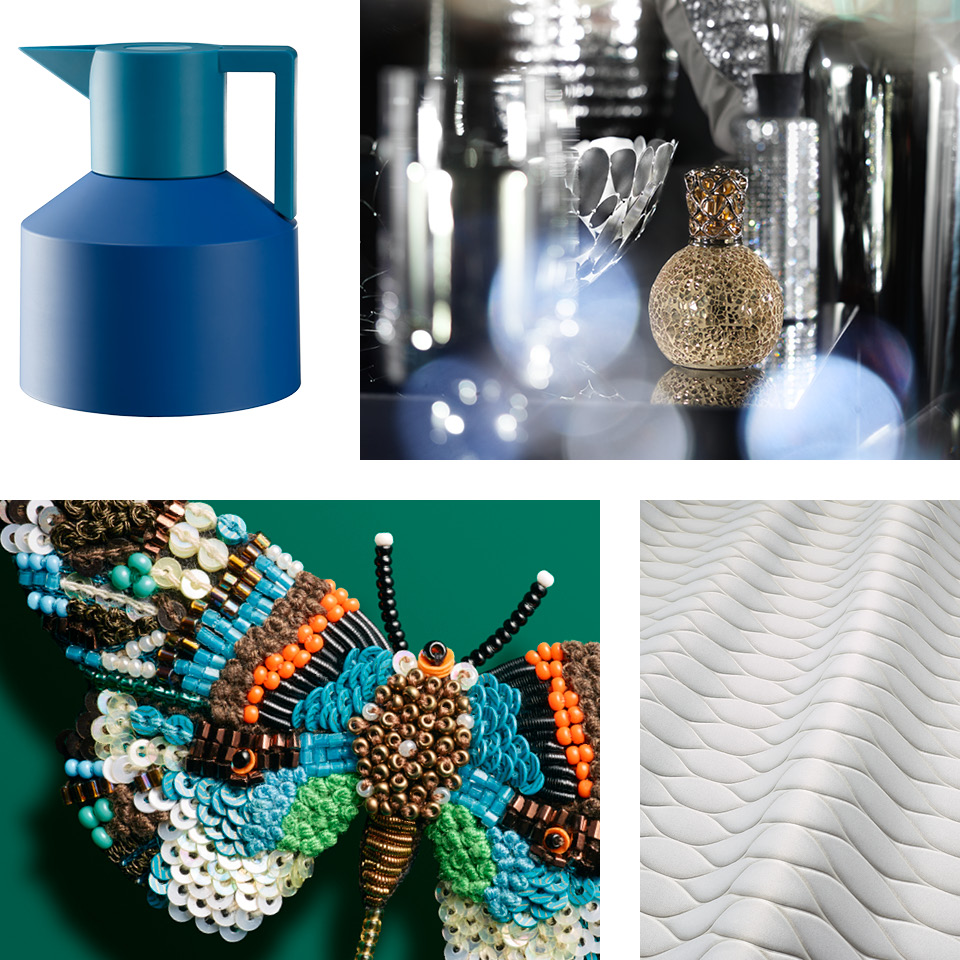 Eine Collage verschiedener Disziplinen der Produktfotografie
