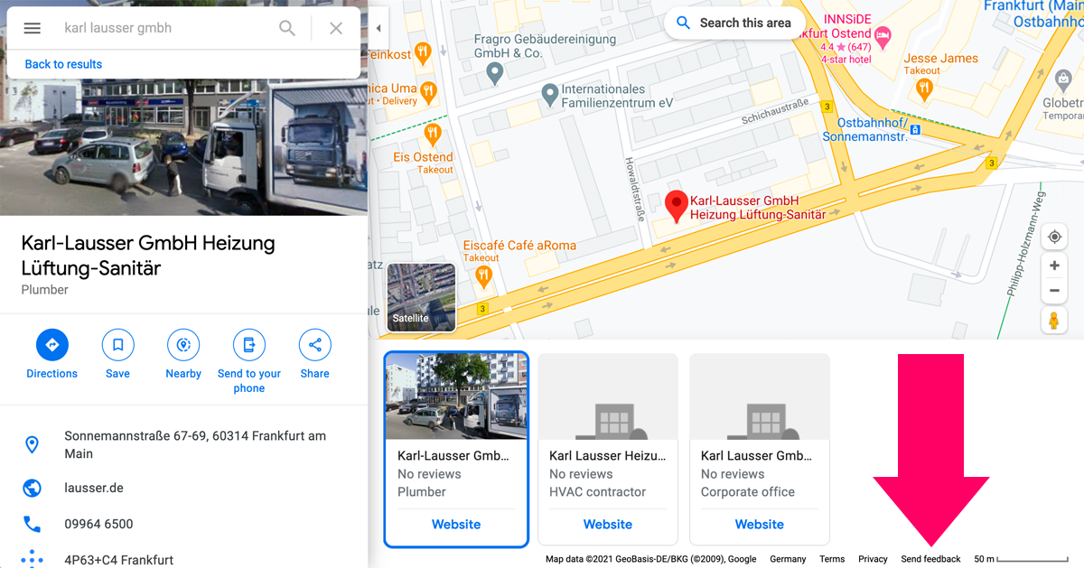 """A view of Google Maps, highlighting the """"Send feedback"""" feature"""