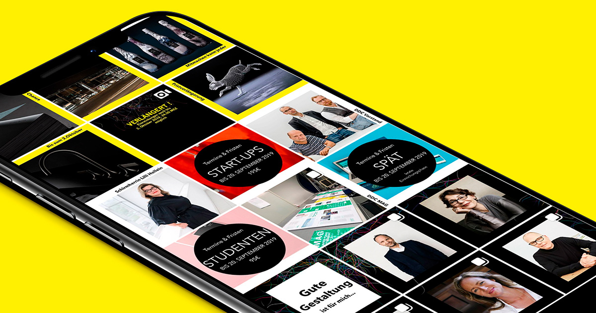 A Smartphone screen illustrates clusters with information and pictures of the german designer club