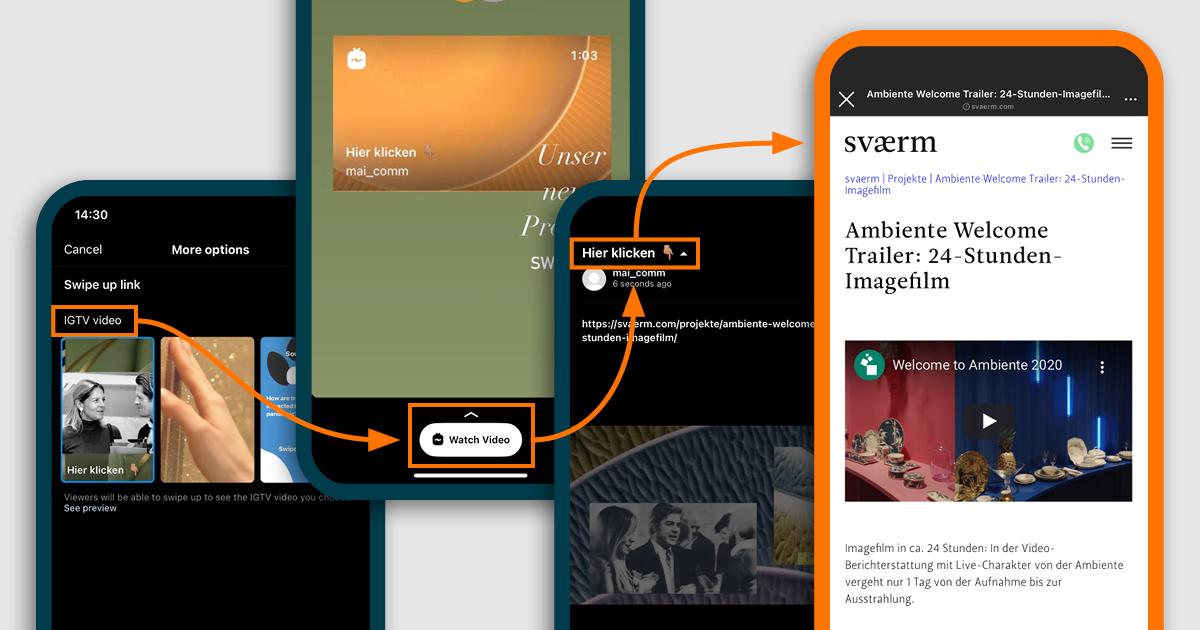 Man sieht die letzten 4 Schritte als Smartphone Screenshots, um einen Link in ein IGTV zu setzen und dieses dann in der Instagram Story zu platzieren