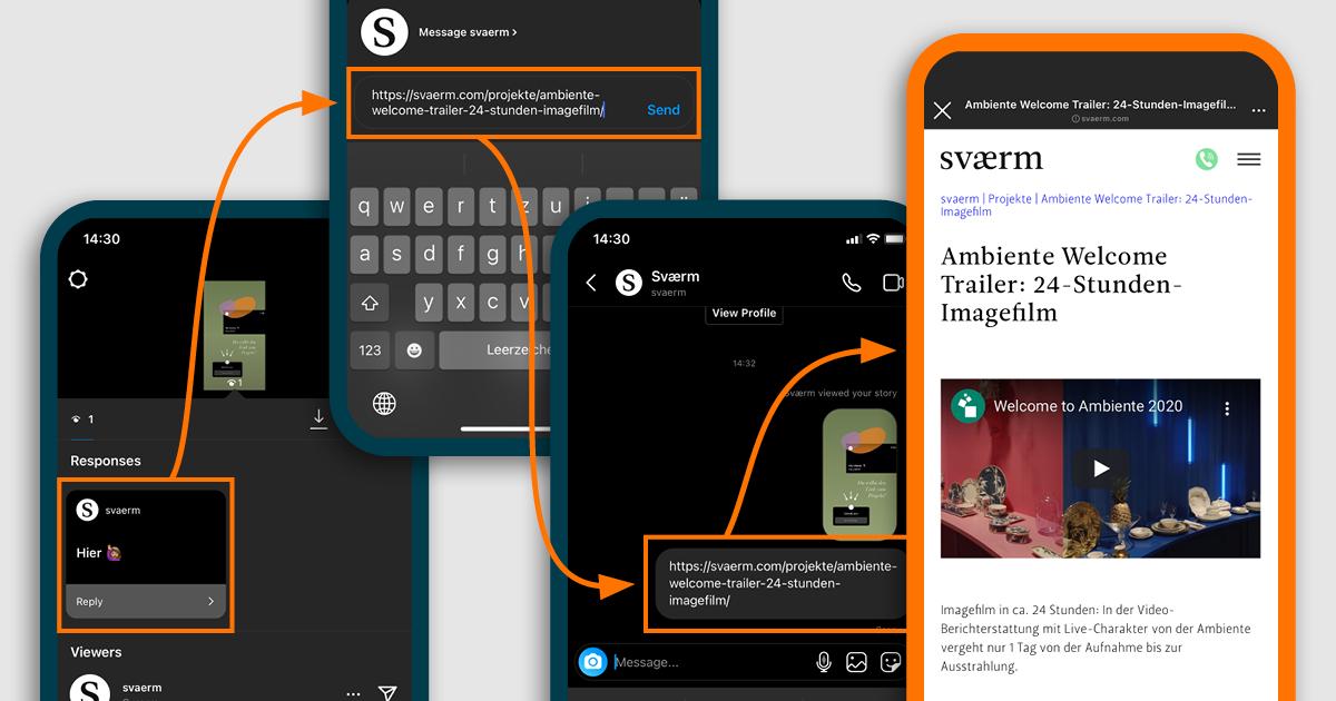 Man sieht die letzten 4 Schritte als Smartphone Screenshots, um den Frage Sticker in der Instagram Story zu nutzen