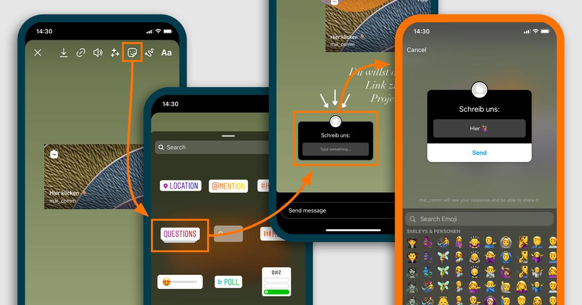 Man sieht die ersten 4 Schritte als Smartphone Screenshots, um den Frage Sticker in der Instagram Story zu nutzen