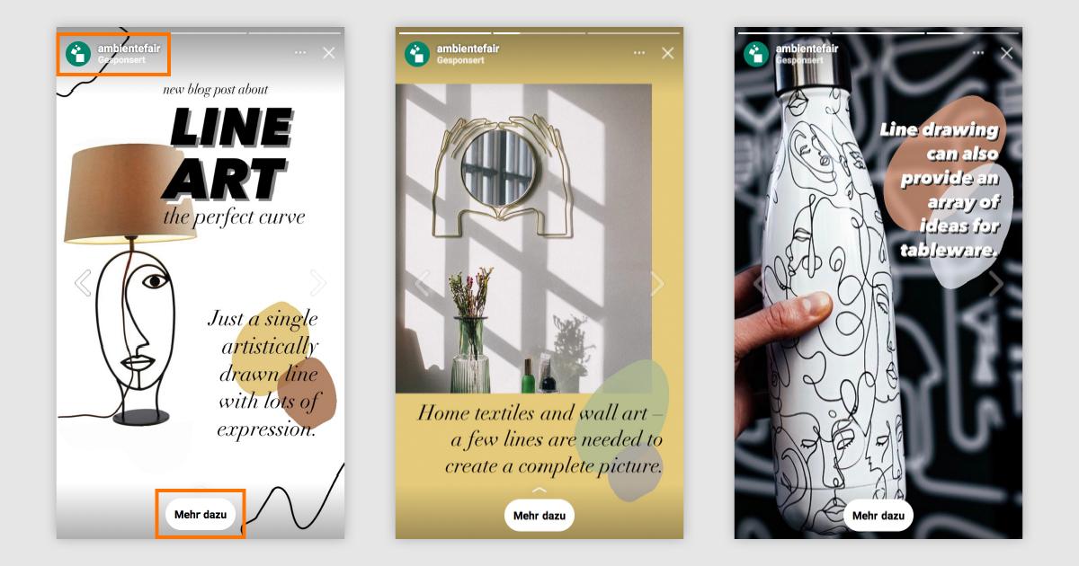 3 Slides einer Instagram Story, die beworben wurde und somit den Swipe Up Link prominent darstellt