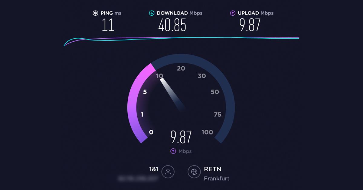 Das Ergebnis eines Test von Download- und Upload-Geschwindigkeit.