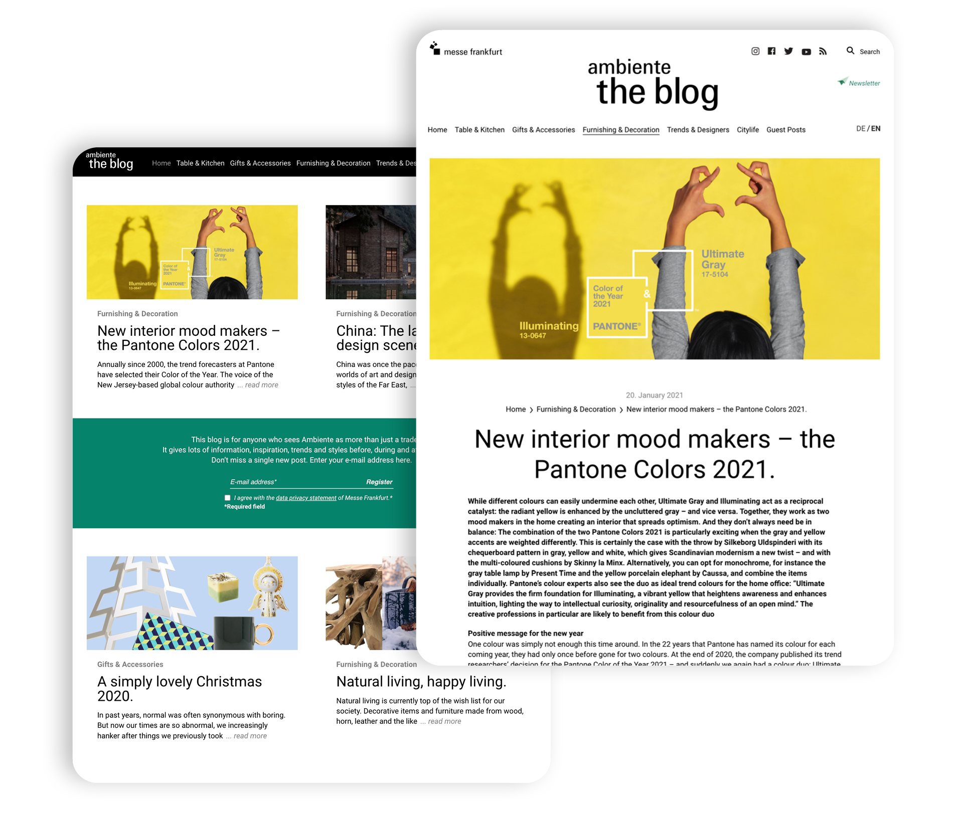 Screenshots of the WordPress Website of the Ambiente Blog