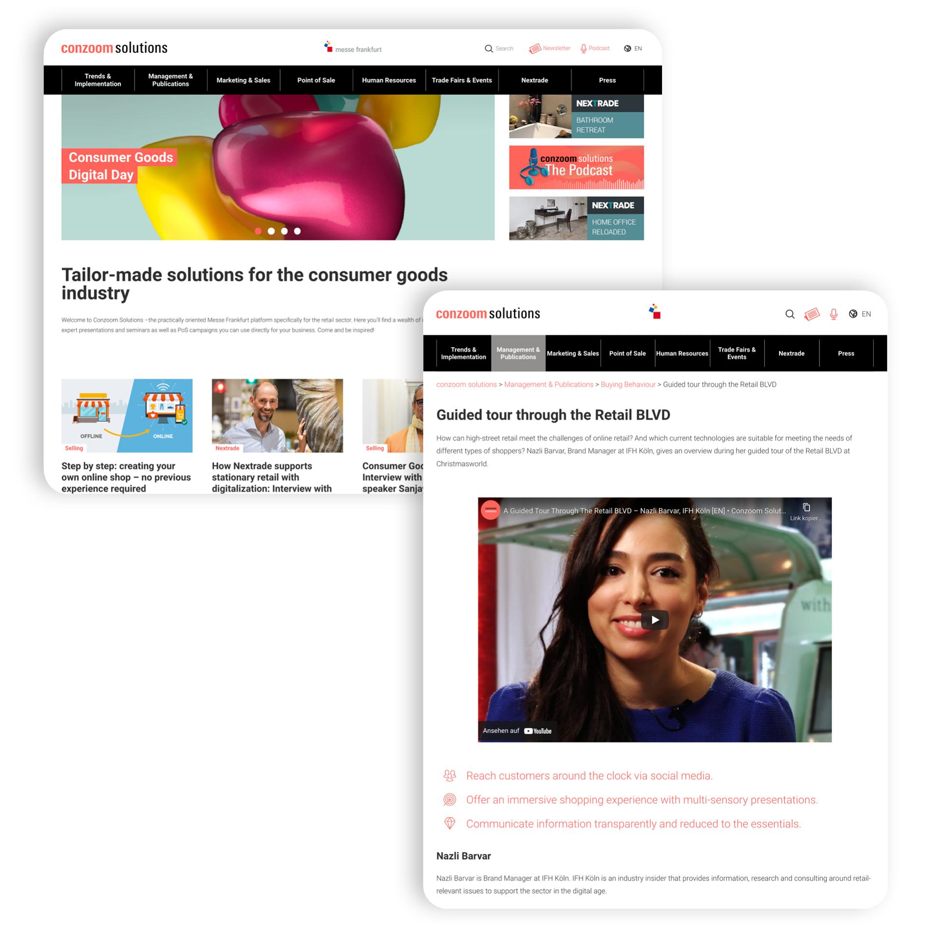 Screenshots of the WordPress website of conzoom solutions