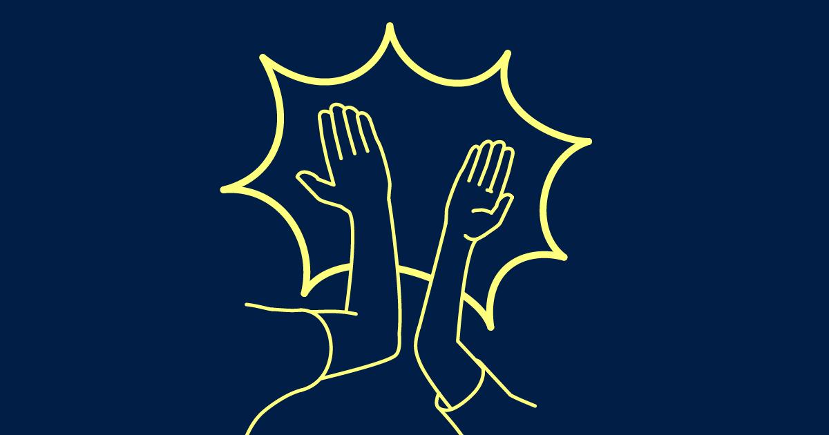 Stilisierte Grafik zweier abklatschender Hände