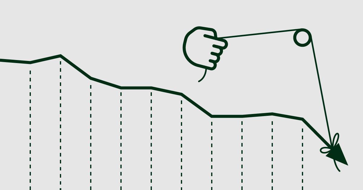 Stilisierte Grafik einer Hand, die versucht, einen abstürzenden Kurs aufzuhalten