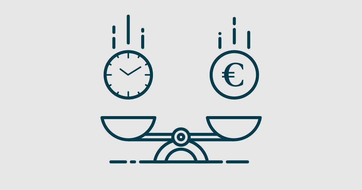 Stilisierte Grafik einer Waage, die Zeit gegen Geld tariert