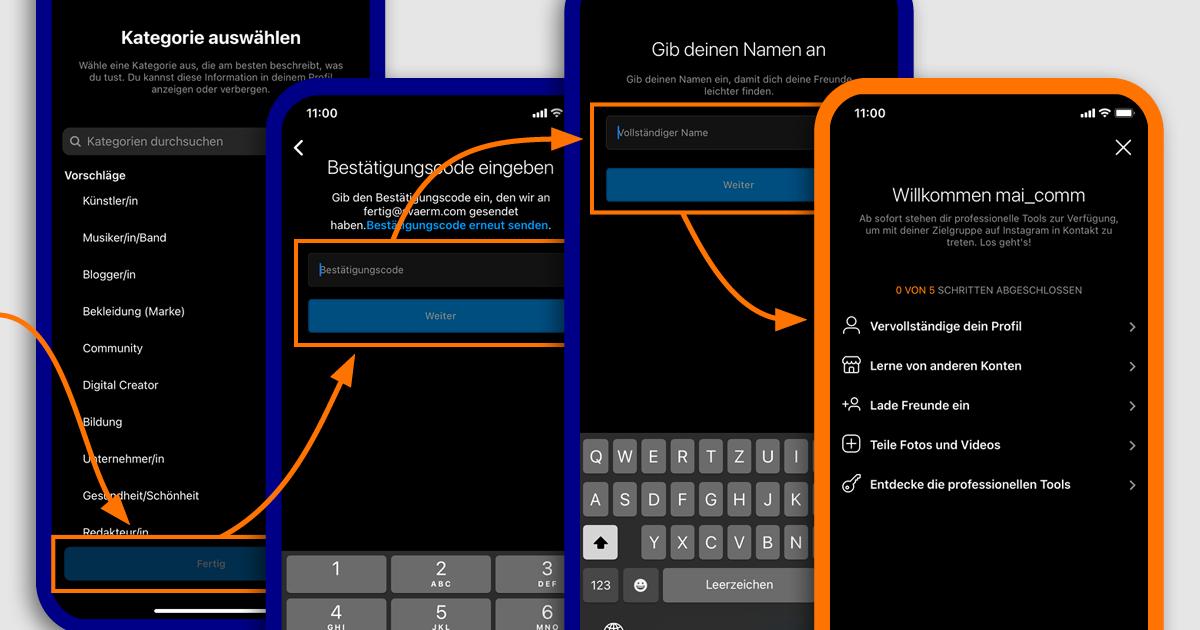 Smartphone Screenshots der Schritte fünf bis acht