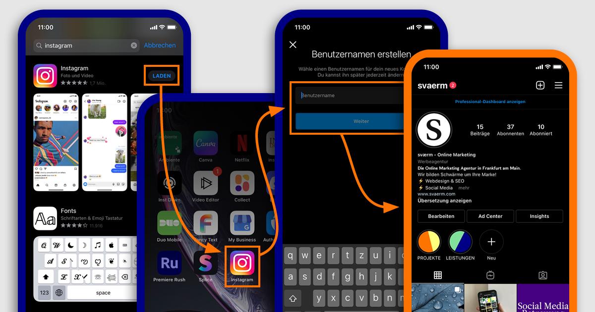 Smartphone Screenshots der Schritte eins bis vier