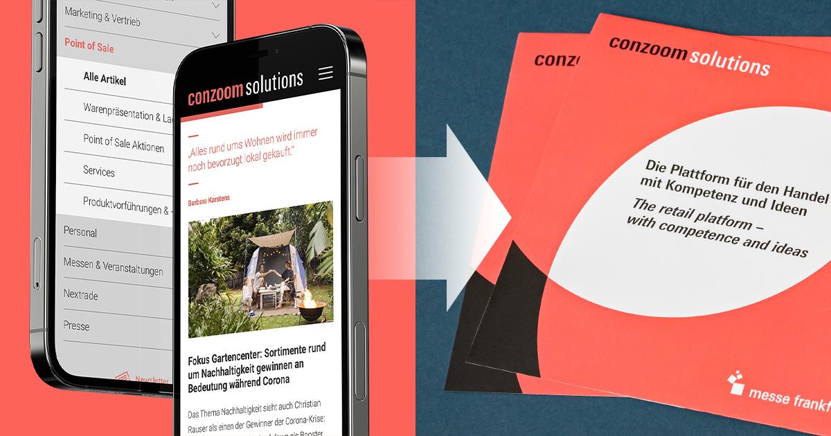 Abgebildet ist ein Smartphone, auf dem die digitale Plattform Conzoom Solutions zu sehen ist. Daneben ist ein Pfeil zu zwei Conzoom Solutions Flyern.