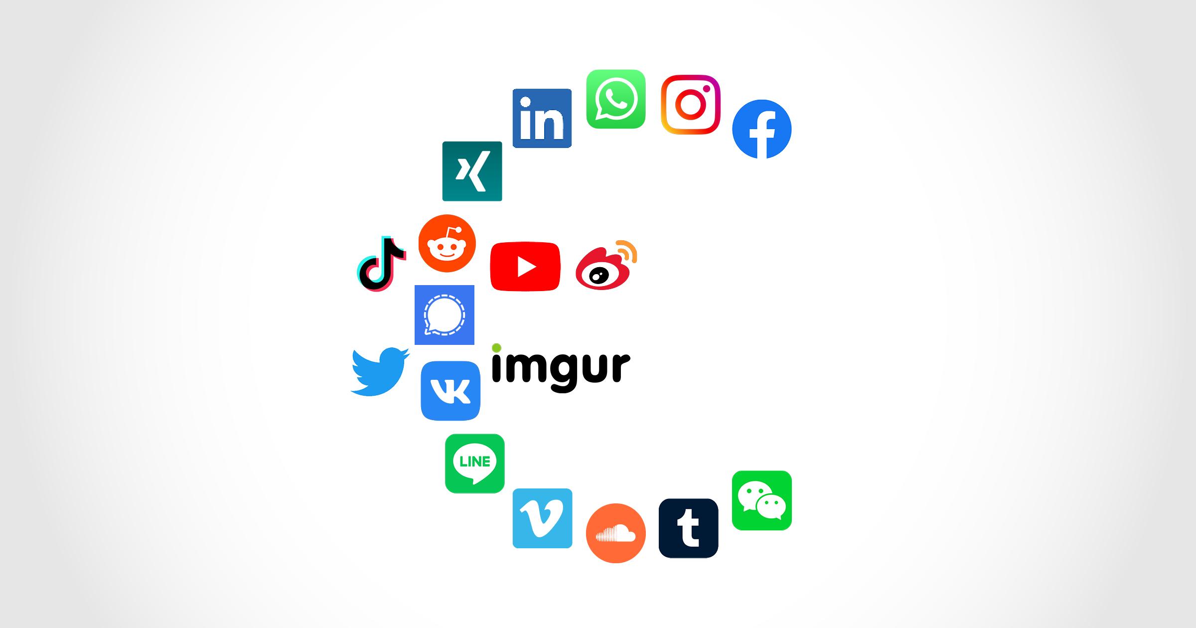 Die Icons beliebter Social-Media-Dienste formen ein Euro-Zeichen.