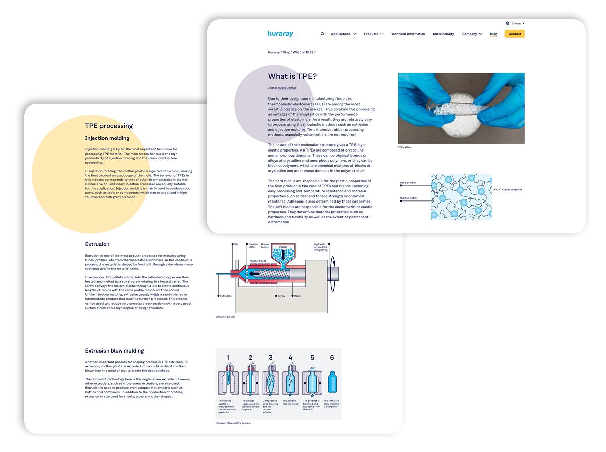 Screenshots von Content für die Website von Kuraray Elastomere