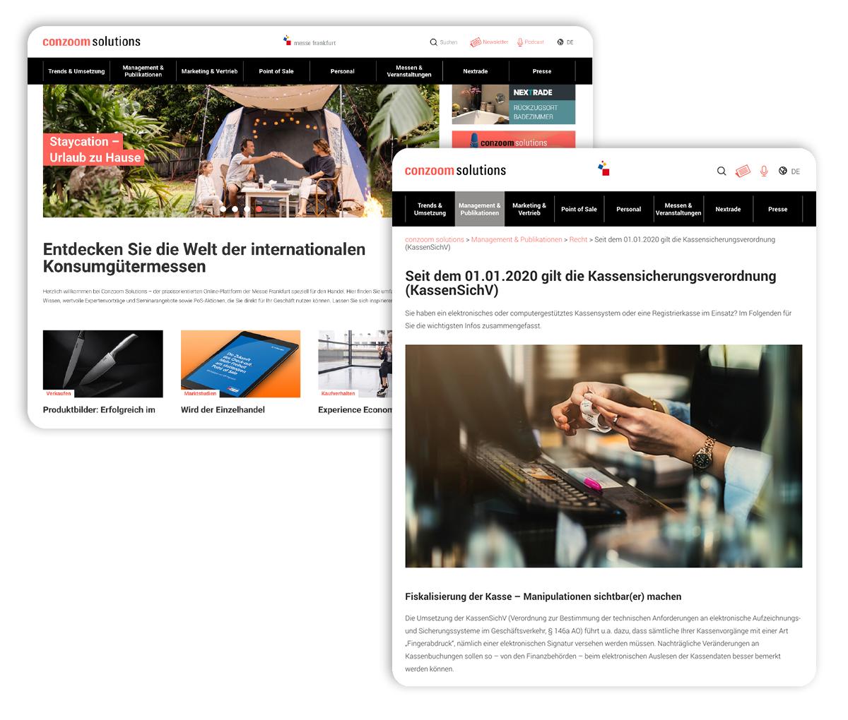 Screenshots von Content für die Website von Conzoom Solutions