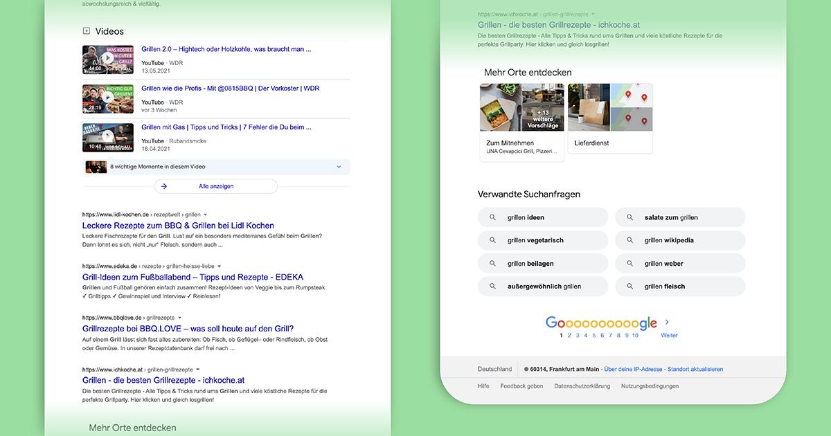 """Die SERP (search engine result page) zum Suchbegriff """"grillen"""" ist in unterschiedliche Module gegliedert."""